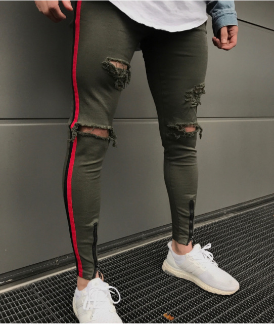 2018 High Quality The side stripe Jeans Men Brand Casual Hip Hop Ripped Jeans Homme Designer Retro Zipper Denim Pants mens