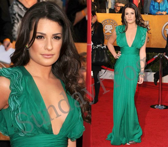 Lea Michele Screen Actors Guild(SAG) Red Carpet Celebrity Dresses Plunging  Neckline Chiffon Ruched Evening Dresses Formal Gown 6452d1856