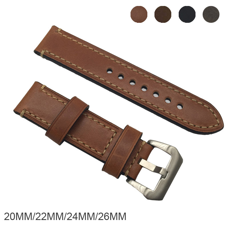 Genuine horse Leather Watchbands Men Women Italy Watch Band Strap for Panerai Belt Stainless Steel Buckle 20 22 24 26mm relogio zlimsn thick genuine leather watch band 20 22 24 26mm strap belt replacement stainless steel skull buckle relojes hombre