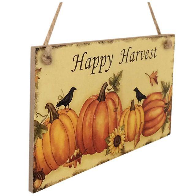 Happy Harvest Sign Hanging Plaque Thanksgiving Party Door Hanger ...