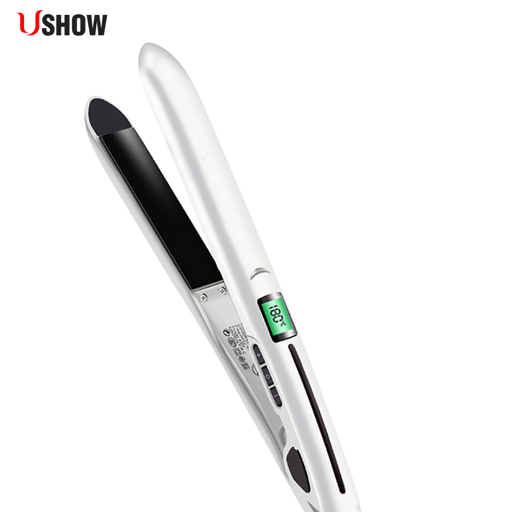USHOW Ceramic Hair Straightener Flat Iron LCD Professional Styling Tools Salon Vapor Hair Curler Curling Straightening Irons ushow portable hair straightener hair styling straighteners 2 in 1 flat hair straightening irons corrugation hair soldering iron
