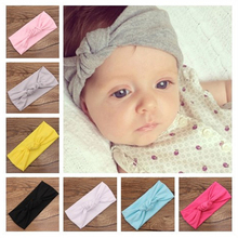 2018 Baby girls Tie Knot Headband Knitted Cotton Children Girls elastic hair bands Turban bows for girl Headbands Summer Style