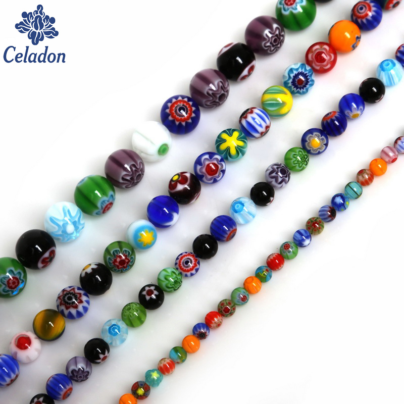 Hot Mix Color Beautiful Beads Round Shape Millefiori Flower Lampwork Glass Beads For Clothing Apparel Sew on Craft Accessories(China)