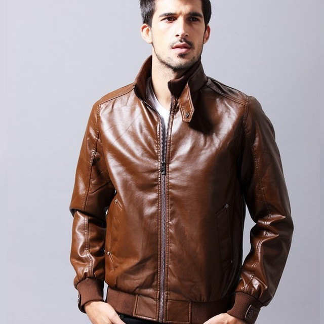 Black Khaki Leather Motorcycle Jackets Men Slim Fit Pu Leather Jacket Man Chaqueta Cuero Hombre Fashion Stand Lether Coats Male
