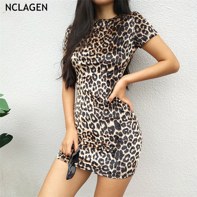 03c63b489e0 NCLAGEN 2018 Women Winter Short Sleeve Leopard Print Booty Vestidos Sexy  Slim Fit O Neck Pencil