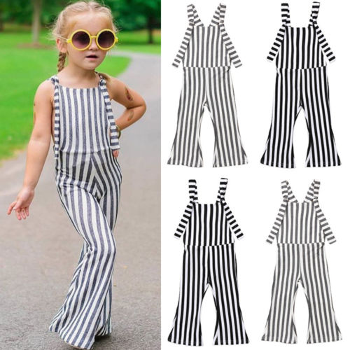 1495ba34be6 2018 Newest Fashion Kids Baby Girls Striped Brace Pants Overalls Romper  Bell Strap Bottom Outfits Clothes