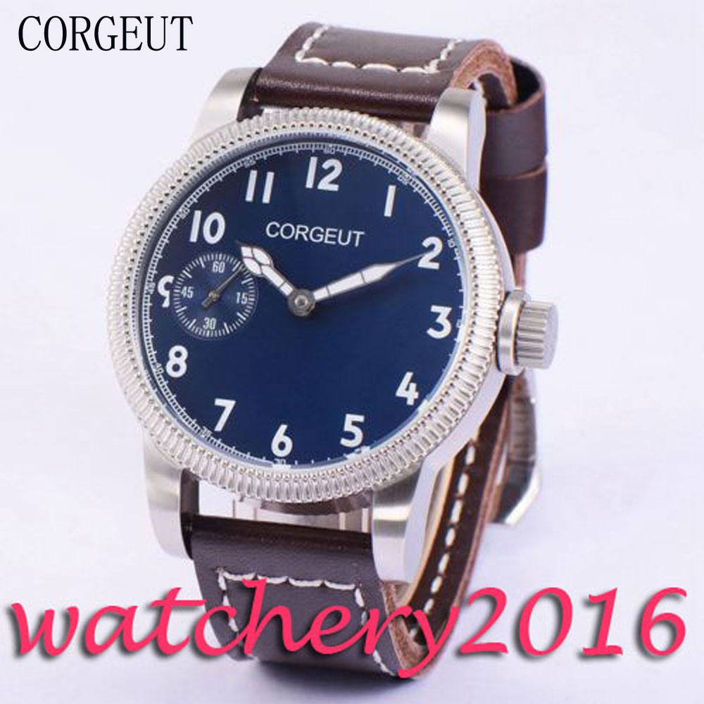 Luxury 45mm Corgeut Blue Dial white markers luminous hands 6497 Hand Winding movement men