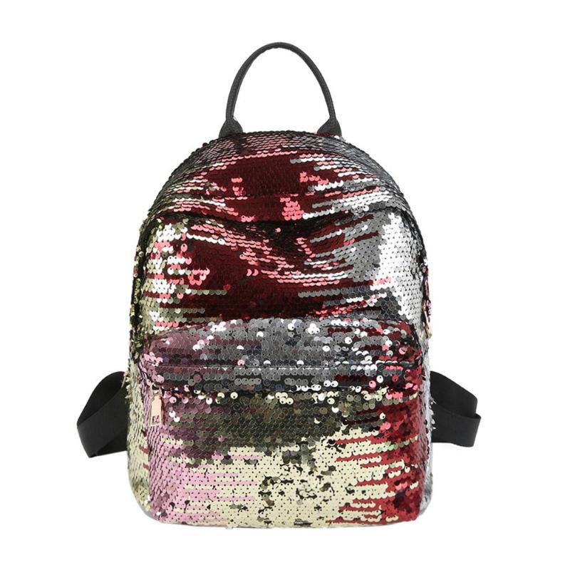 Sequins Glitter Bling Backpacks Teenager Girls PU Leather Backpack Girls Shoulder School Bag Travel Rucksack 18