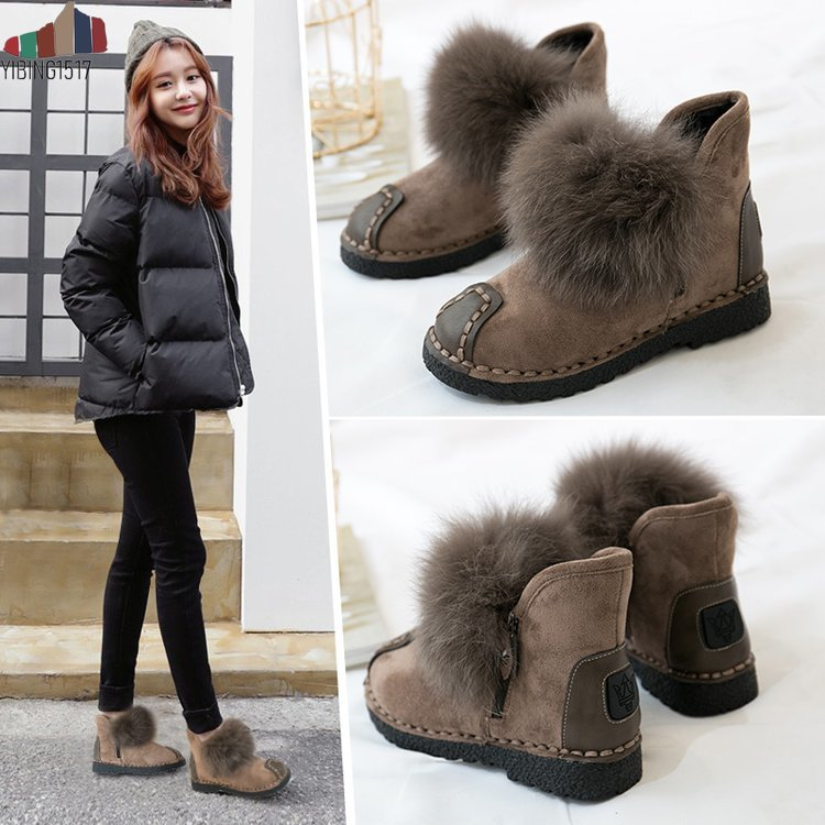 Hot sale Women natural real fox fur snow boots fashion boots for women high quality genuine cow leather winter Ankle boots