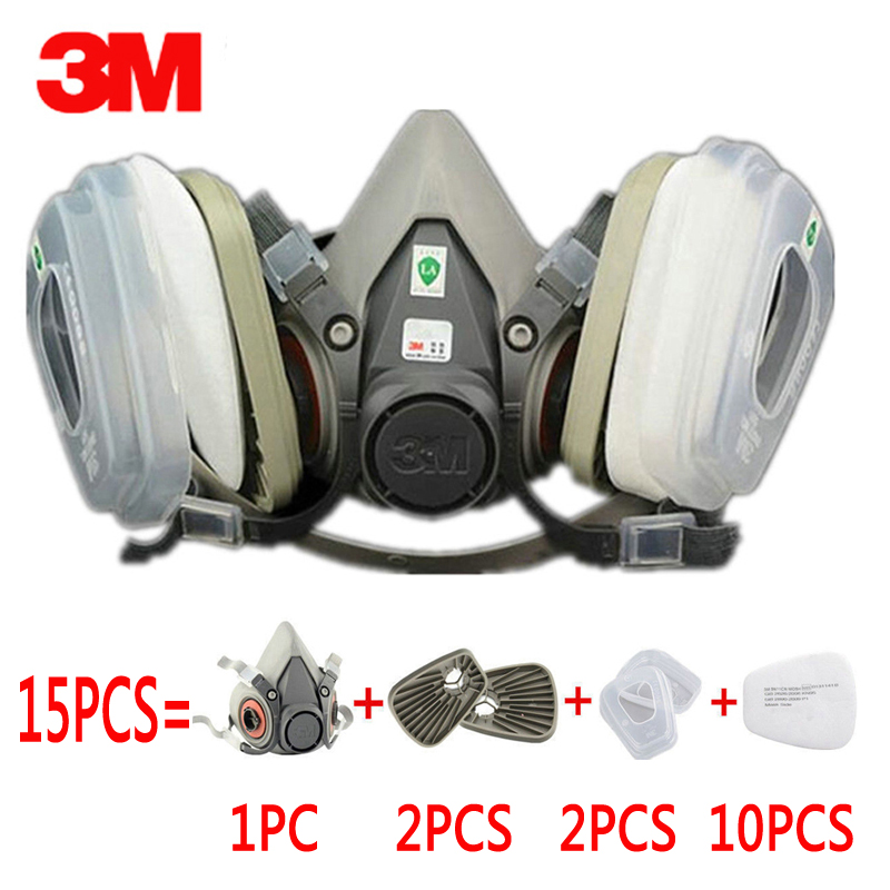 15 in 1 Suit 3M 6200 half Face Gas mask For 6200 Spray Painting Protection Respirator Dust mask 9 in 1 suit gas mask half face respirator painting spraying for 3 m 7502 n95 6001cn dust gas mask respirator