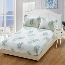 2019 New Luxury fashion bed sheet sets 100% cotton twin full queen king single white green leaves fitted sheet 2pcs pillowcase