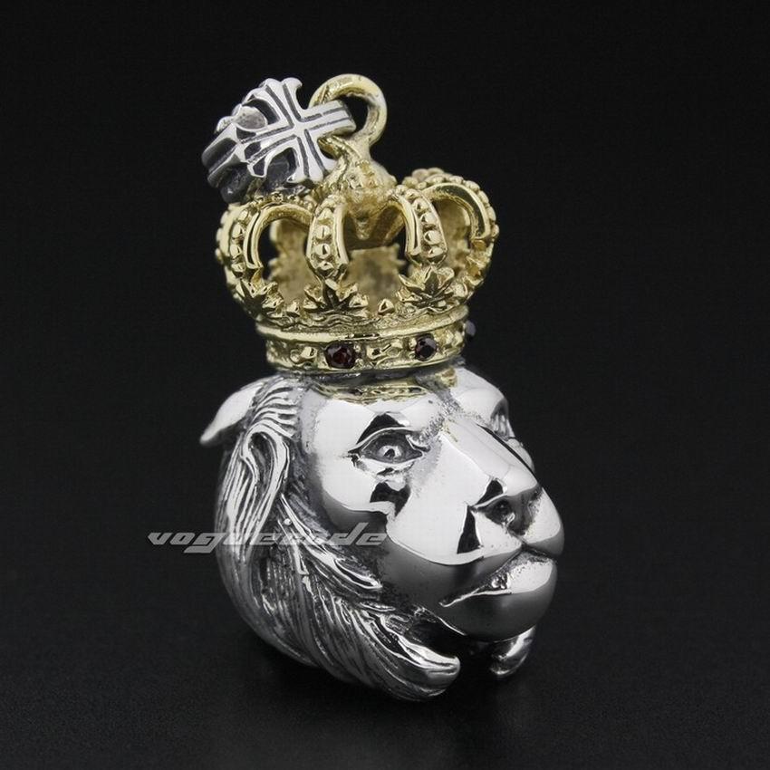 Brass Crown 925 Sterling Silver Guardians Lion Biker Pendant Necklace 8P005