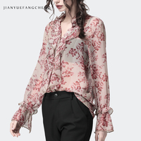 Floral Printed Women Chiffon Blouse Summer Top Ruffle V Neck See Through Long Sleeve Fashion Vintage Casual Blouses And Tops 4XL