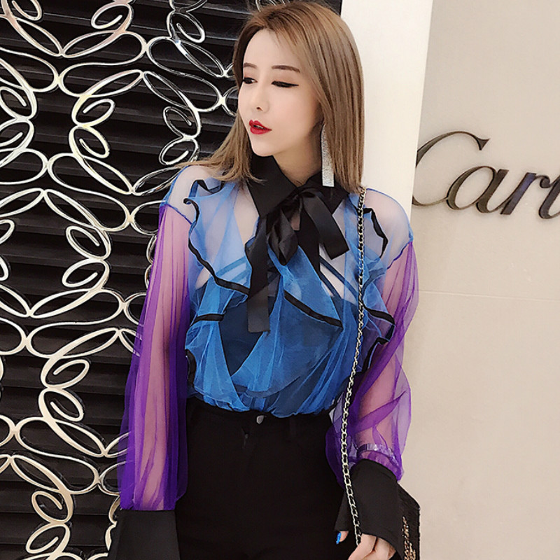 Gradient Blue Chiffon bottoming Shirt Ruffles Bowknot Blouses Women Perspective flounced trumpet sleeve Shirts Tops 2018 New
