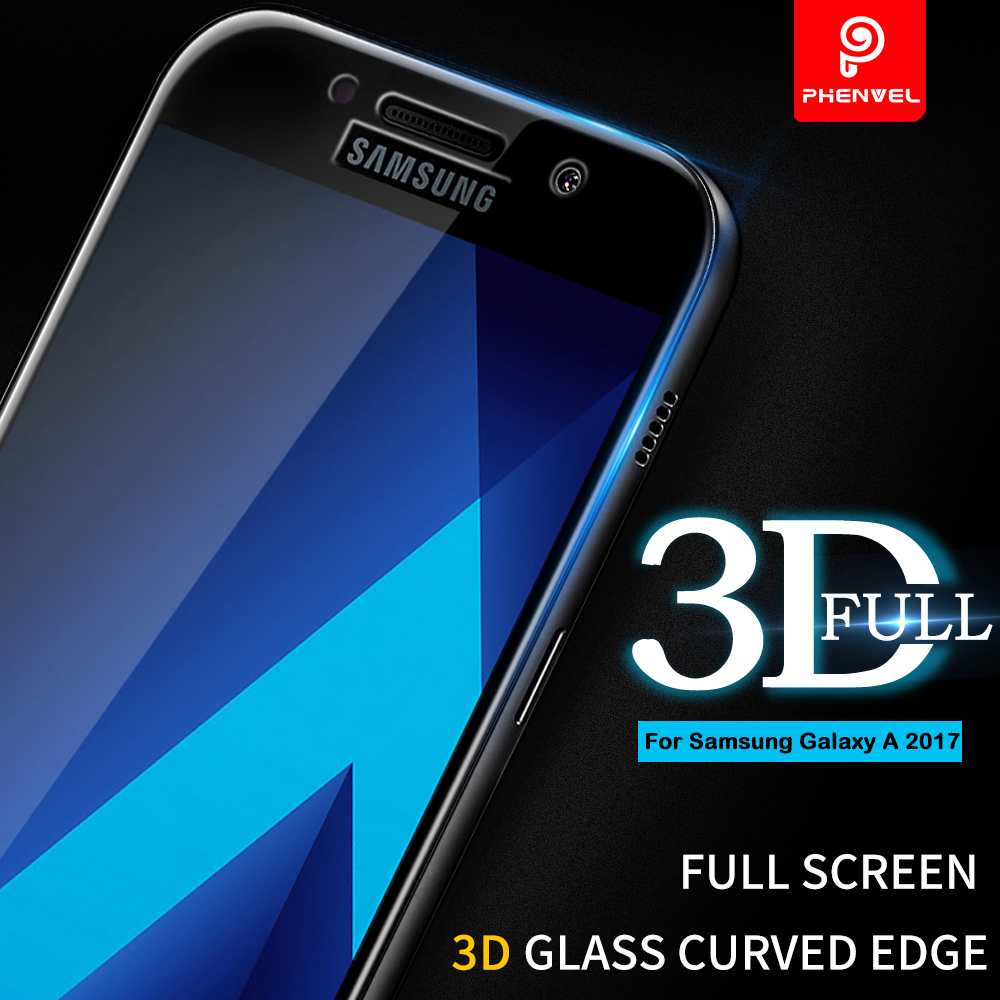 Galleria fotografica 3D Film Glass For Samsung Galaxy A5 2017 A Phenvel Full Cover Screen protector For Galaxy A3 A5 A7 2017 Tempered Glass Arc-edge