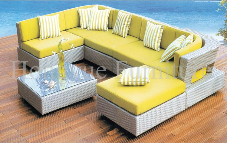 Outdoor rattan garden sofa furniture set with cushions - Outdoor Rattan Garden Sofa Furniture Set With Cushions-in Garden
