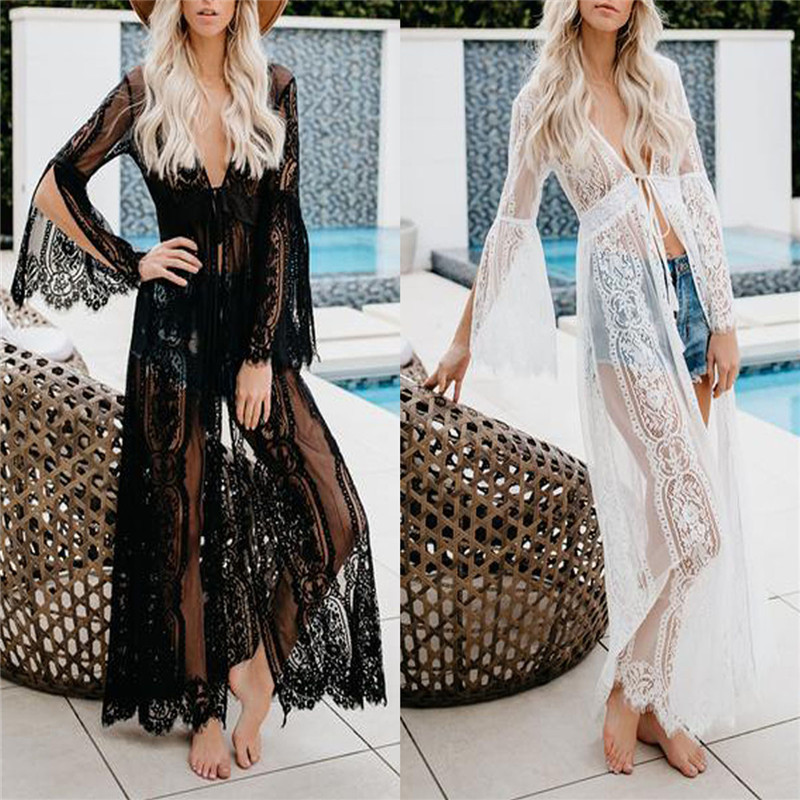 <font><b>Elegant</b></font> Women Lady 2019 New Black/White Lace Crochet <font><b>Long</b></font> Bikini Cover Up <font><b>Sexy</b></font> Hollowed-out Swimwear Beach <font><b>Dress</b></font> Sundress image