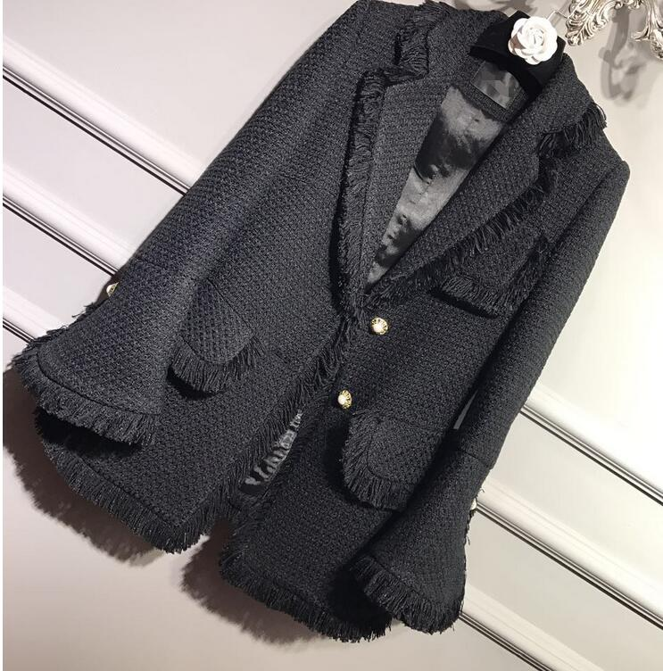 2017 Spring Runway Luxury Design New Fashion Black Classic Tweed jacket with fringed hem Long flared sleeved side pockets