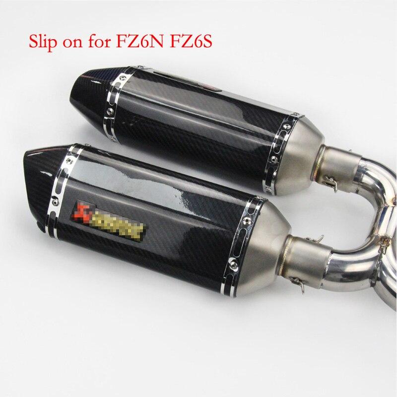 FZ6S FZ6N Moto D'échappement Silencieux Système Complet Glissement Sur Tuyau De Raccordement Mi Tuyaux + D'échappement Pour Yamaha FZ-6N FZ-6 FZ6