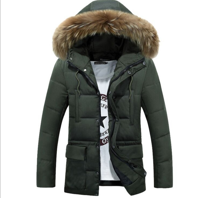 New Brand Men's cotton Down Jacket Casual Solid dwon coat Collar Winter Jacket Men Fashion Overcoat Outerwear cotton plus size