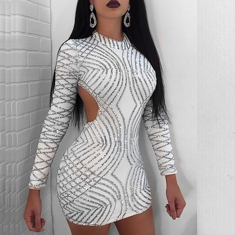 Silver glitter mesh long sleeve bodycon dress sleeves ebay
