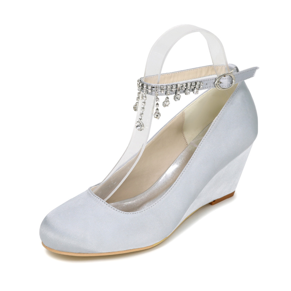 Creativesugar Elegant beach wedding dress wedges middle heel pumps ...