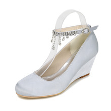 Elegant beach wedding dress wedges middle heel pumps with ankle strap sexy cocktail party evening shoes champagne purple ivory