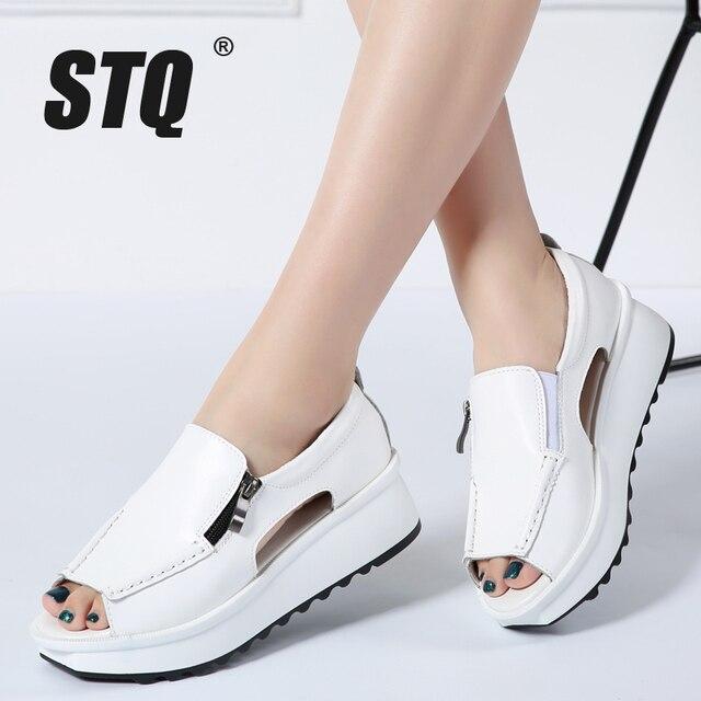 STQ 2020 여름 여성 샌들 웨지 샌들 숙 녀 오픈 발가락 라운드 발가락 지퍼 블랙 실버 화이트 플랫폼 샌들 신발 8332