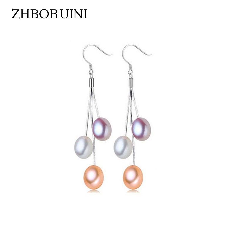 ZHBORUINI 2017 Pearl Earrings Natural Freshwater Pearl Tassels Pearl Jewelry Drop Earrings 925 Sterling Silver Jewelry For Woman цена 2017