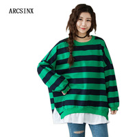 ARCSINX Korean Style T Shirt Women Plus Size 8XL 7XL 6XL 5XL 4XL 3XL Oversized T Shirt Women Cotton Casual Striped Tshirt Women