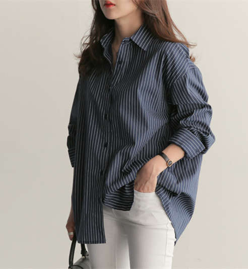 Good Quality Striped Blouse Long Sleeve Shirt Women Top Office Lady Classic Chemise Femme Chemisier Blusa Mujer Camicie Donna Chemisier