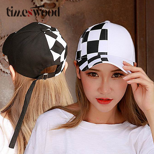 bd548231c67 Hip Hop Creative Swing Cap Strap Back Baseball Caps For Men Women Punk  STYLE New Fashion Plaid Hats Black White Red Color