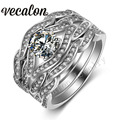 Vecalon New 3-in-1 Cross Wedding ring set for women 2ct Simulated diamond Cz 10KT White Gold Filled Female Engagement Band ring