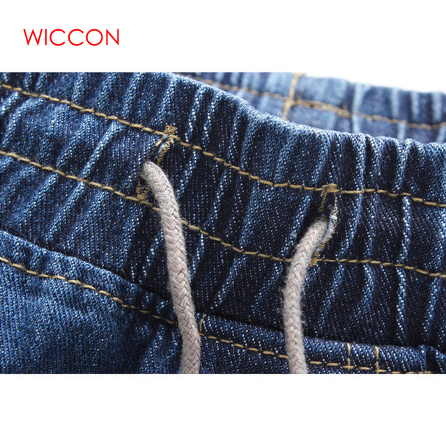 2019 Fashion Casual Solid Blue Denim Jeans Joggers Elastic Waistband Drawstring Men Washed Hip Hop Harem Pants Hot Sale