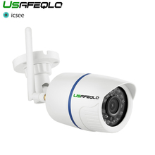 Usafeqlo 1080 1080p 960 1080p 720 720p ワイヤレス ip カメラ icsee P2P rtsp モーション検出防水 wifi カメラ弾丸 128 グラム sd カードスロット