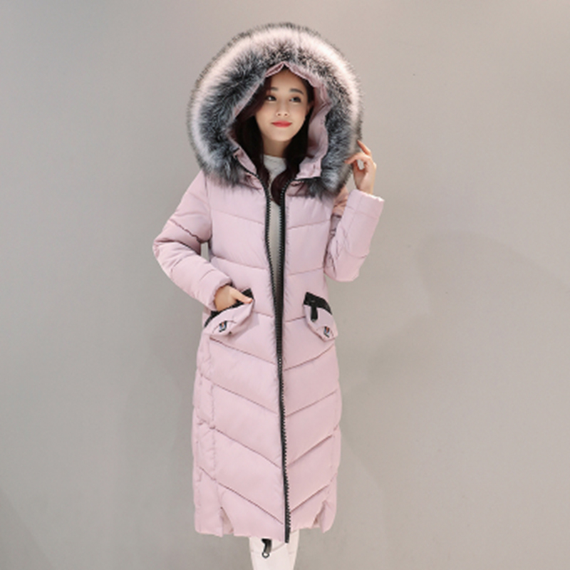 2017 Winter New Fashion Women Down Parkas Warm Large Fur Collar Hooded Long Slim Cotton Jacket Female Zipper Snow Coat YP0474 new women s fashion authentic korean slim fur collar down jacket female long thick warm white duck down jacket for snow h1013