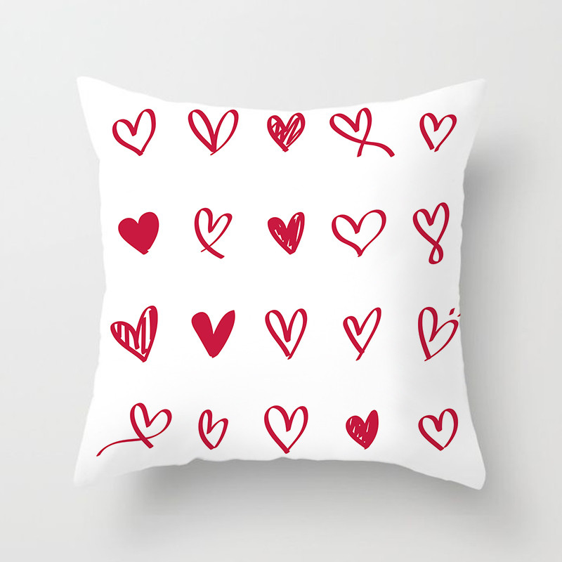 Fuwatacchi Love Heart Style Cushion Cover Love Kiss Printed Pillow Cover Festival Gifts for Sofa Car Decorative Pillowcases Hot in Cushion Cover from Home Garden