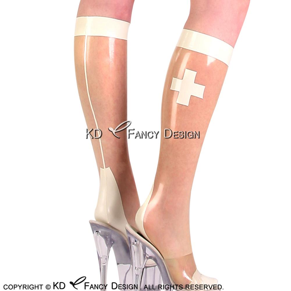 Transparent With White Cross Nurse Sexy Latex Socks Rubber Socks WZ-0027