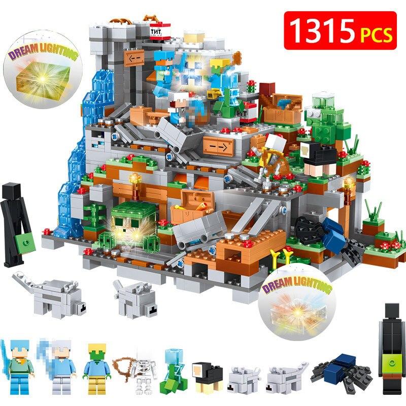 Мой Мир строительные блоки Совместимые LegoINGLYS Minecrafted мини горная пещера цифры модуль Кирпичи игрушки для детей