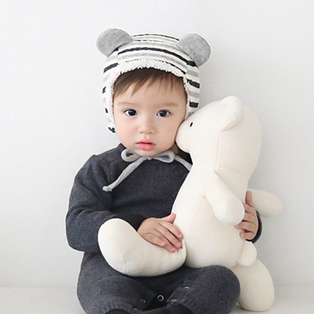 Winter Warm Baby Hat Beanies Caps Kids Striped Berber Fleece Cap Cute Newborn Boys Girls Ear Protection Knitted Hats Skullies