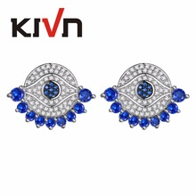 KIVN Fashion Jewelry Blue Eye CZ Cubic Zirconia Bridal Wedding Earrings For Womens Girls Christmas Mothers Day Birthday Gifts