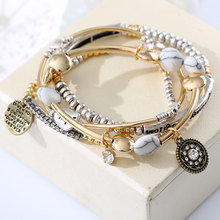 4Pcs/Set Europe America Vintage Fashion Multilayer Beads Hope Letter Blue white Stone Bracelet & Bangles Jewelry For Women 2016