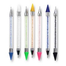 Dual-ended Dotting Pen Rhinestone Studs Crystal Handle Picker Wax Pencil Nail Art Tool for 3D Decorations