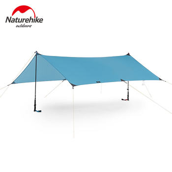 Naturheike Ultralight plandeka Outdoor Camping Survival Sun Shelter cień markiza srebrna powłoka Pergola wodoodporny namiot plażowy tanie i dobre opinie 1500-2000mm Pręt ze stopu aluminium Namiot dla 3-4 osób NH19T001-M Naturehike Blue 240x290cm 25x10cm 330g 8 pcs nails 8 pcs ropes
