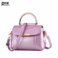 PONGWEE Charm Women Leather Handbags Famous Brand Tote Bags With Logo Luxury Handbags Women Bags Designer