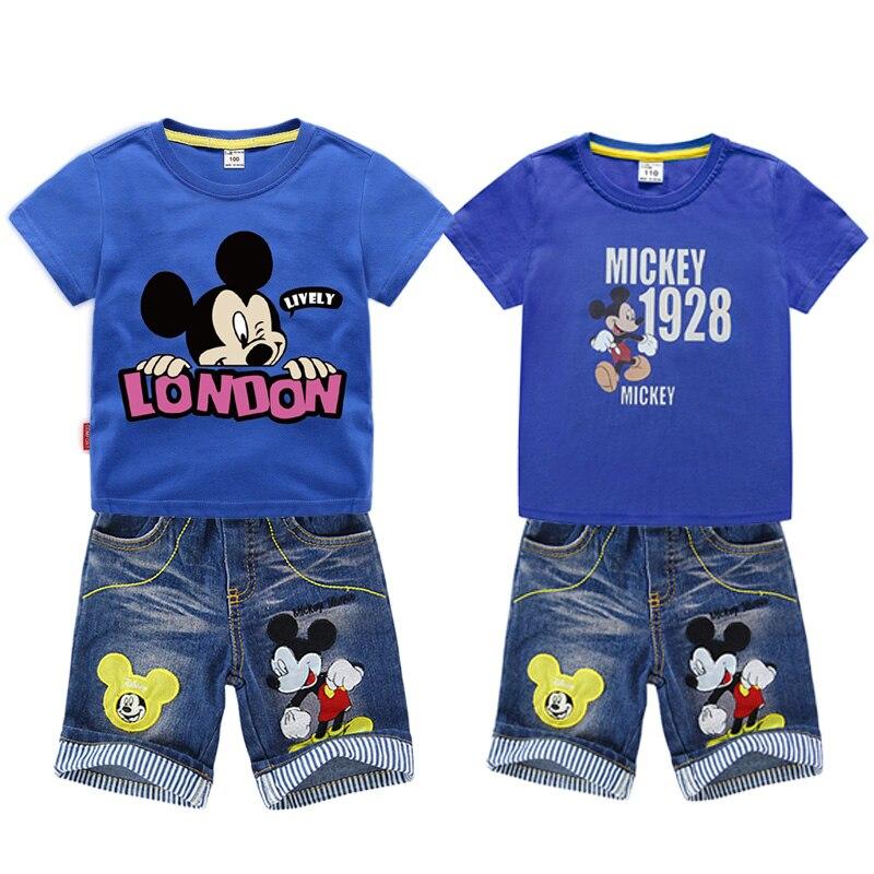 2pcs Mickey Mouse Suit Kids Baby Boys Summer Short Sleeve Tops+Denim Hole Pants