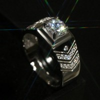 Hot Sale Men Brand Design Jewelry 2ct Simulated Diamond AAA Cz Wedding Band Ring For Women