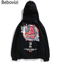 Bebovizi Brand New Designer Japanese Chinese Style Hoodies Streetwear Sweatshirt Hooded Hip Hop Evil Devil Printed Cotton Men