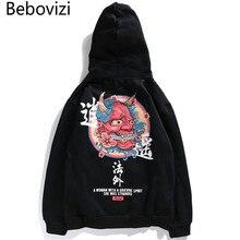Marka Bebovizi nowy projektant japoński chiński styl bluzy Streetwear bluza bluza z kapturem Hop zło diabeł drukowane bawełna mężczyzn