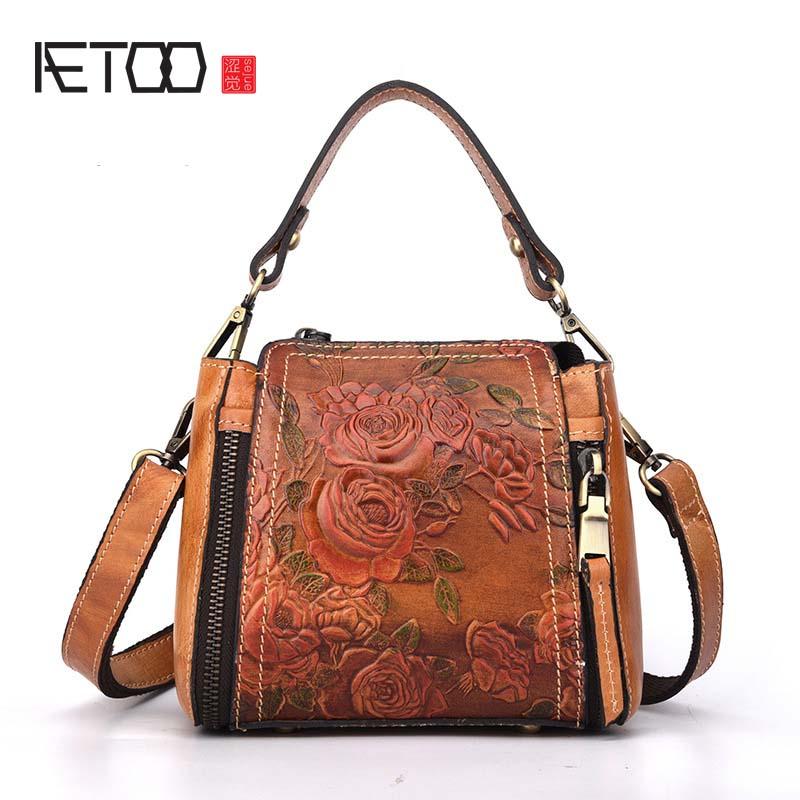 AETOO New fashion handbags wild hand-embossed leather handbag women mini small leather bag shoulder Messenger bag